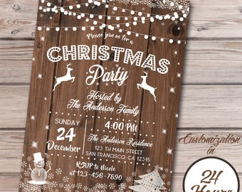 Christmas Invitation, Christmas Party Invitation, Rustic Winter Invitation, Holiday Party Invitation, Printable invitation