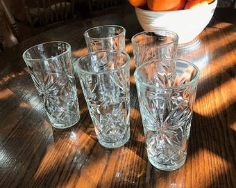 Anchor Hocking Prescut Star David Ice Tea Glasses