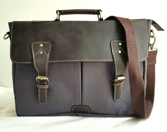 Canvas and Leather Messenger Laptop Bag