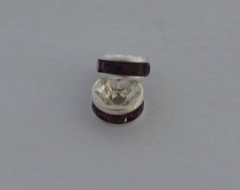 8 pearls brass rhinestone 6mm grade A plum - Ref: PS 535