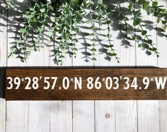 coordinates sign-coordinate sign-personalized sign-dark wood sign-dark wood coordinates sign-farmhouse-farmhouse sign-wall sign