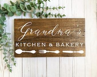 grandma gift-grandma's kitchen sign-kitchen decor-personalized kitchen sign-dark wood sign-personalized sign-farmhouse sign-bakery sign