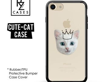 Cat Phone Case, Cute Cat Phone Case, Kitten Phone Case, iPhone 7, Animal, Cat Lover, Gift for Her, iPhone 7 Plus, iPhone 6S, Rubber, Bumper