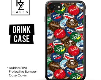 Drink Phone Case, Bottle Cap Phone Case, Drink iPhone Case, Silicone Rubber Case, iPhone 7, Gift for Her, iPhone 7 Plus, iPhone 6S, Bumper