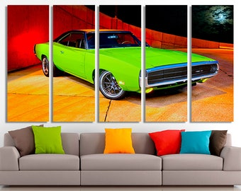 Dodge wall art etsy dodge charger green 1970 dodge canvas dodge poster dodge decor dodge wall sciox Image collections