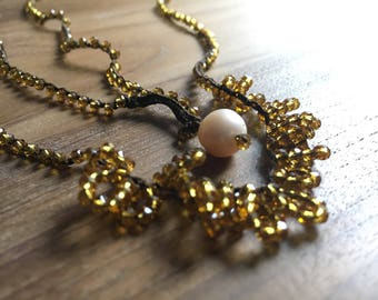 Yellow ochre crystals Necklace-costume jewellery-bijoux-necklaces-crystals-Women's jewelry-crystal necklace-gift-Birthday-Gift