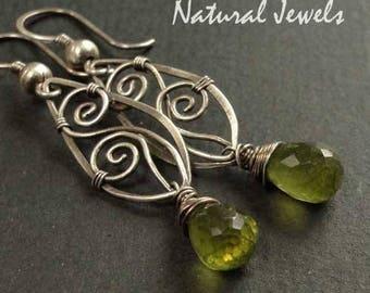 Silver 925/1000 earrings aged spirals PERIDOT BRIOLETTES