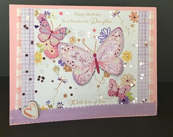 BIRTHDAY FEMALE Happy Birthday Daughter Butterfly Glitter Card