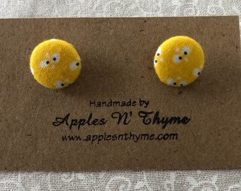 "Fabric button earrings | Butterflies on Yellow | Surgical Stainless Steel Earring Posts | 1/2"" button size"