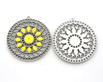x 1 pendant filigree and enamel, yellow, 56x52mm: BM0008-J