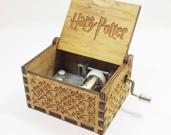 Handmade Engraved Wooden Music Box - Harry Potter Theme