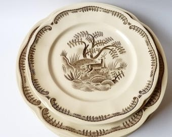 Gefle Tibet Arthur Percy Sweden Design Set of 6 Ceramic Plates Dinnerware Deer Collectible Vintage 1930's