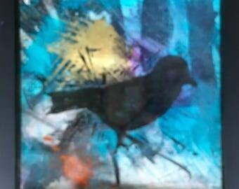 "Mixed media acrylic painting & printmaking 8""x 8"" framed"