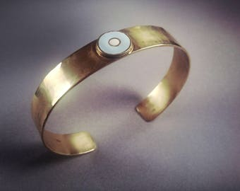 Silver gold-plated cuff bracelet with amulet eye