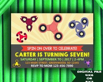 Spinner Invitations, Spinner Birthday Invitations, Spinner Party Invitations, Fidget Spinner Birthday Party Invitation