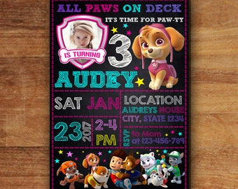 Paw Patrol Invitation, Paw Patrol Girl Invitation, Paw Patrol Birthday Party, Paw Patrol Party Invitations, Paw Patrol Cards, Skye
