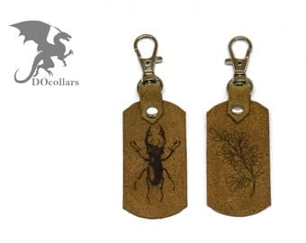 Personalized leather keyring with text or picture on both sides. Lucanus cervus bug