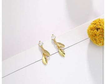 925 Sterling Silver Leaf Stud Earrings ,simple small earrings exquisite mini, Gift for Her