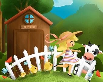 """Illustration for children """"On A farm"""""""