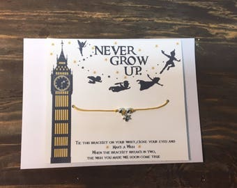 Peter Pan-never grow up wish bracelet. Never grow up wish bracelet.Disney wish bracelet.Finding neverland.Disney Peter Pan wish bracelet
