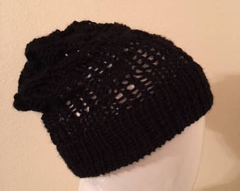 Black Knit Slouch Hat