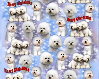 Bichon Frise Dog Christmas Gift Wrapping Paper.