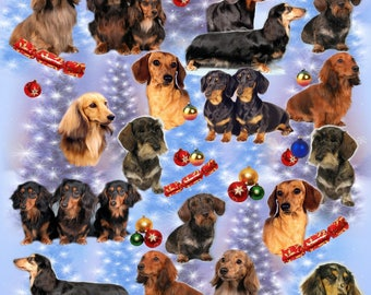 Dachshund Dog Christmas Gift Wrapping Paper.
