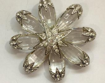 Joan RIvers Crystal Snowflake Brooch