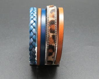 BLUE LEOPARD - LEATHER CUFF BRACELET