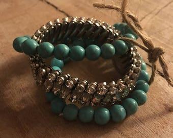 Rhinestone Cowgirl;set of 3 bracelets
