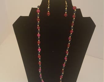 Wine and Blue Necklace and Earring Set
