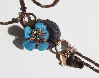 Flower blue Purple Butterfly Necklace