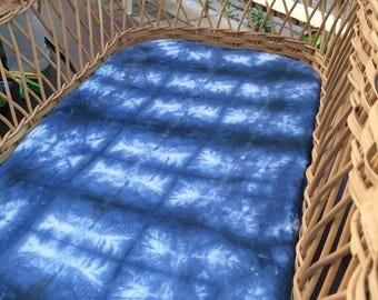 Shibori hand dyed Bassinet fitted sheet