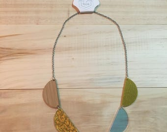 Gold, Silver and Bamboo Scallop Necklace
