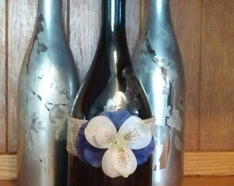 Wine bottle décor set of three