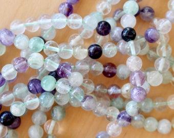6mm Fluorite beads, full strand, natural stone beads, round, 60027