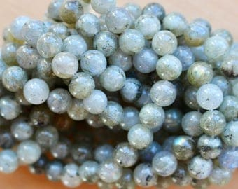 8mm Rainfall Labradorite beads, full strand, natural stone beads, round, 80005