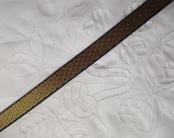 1 meter of medieval gold braid / woven Black diamonds
