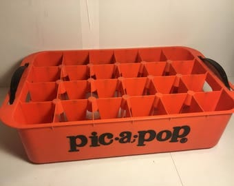 Vintage Pic-A-Pop soda orange plastic crate with black handles