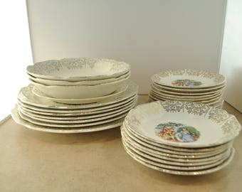 Sabin Crest O Gold Colonial Ceramic Set of China