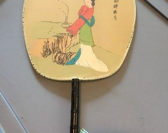Vintage Hand Painted Silk Japanese Fan