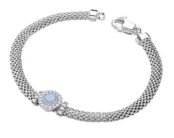 """925 Sterling Silver 7"""" Victorian Mesh Bracelet with Simulated Blue Topaz"""