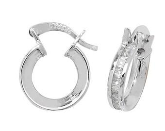 9ct White Gold 8mm Princess Cut Cz Hoop Earrings Hallmarked
