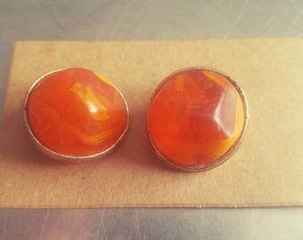 Gorgeous Vintage 1940s Kramer Clip-On Orange Earrings