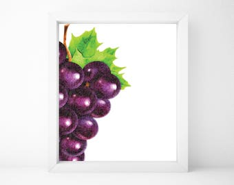 Grapes Print, Food Art, Food Print, Kitchen Print, Kitchen Wall Art, Kitchen Wall Decor, Printable Wall Art