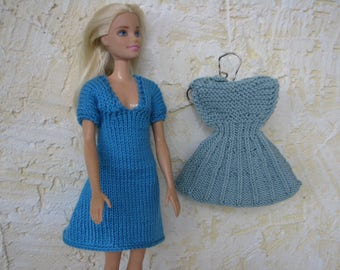 Blue and green- gray dresses for Barbie knitted handmade, Barbie fashion outfit