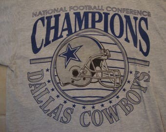 Vintage 90's NFL Dallas Cowboys Football NFC Champions Sports Fan Gray T Shirt Size M