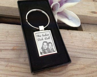 Key ring with engraving Dogtag
