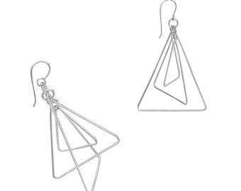 3D Triangular Earrings