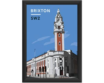 Brixton Lambeth Town Hall SW2 - Giclée Art Print - South London Poster